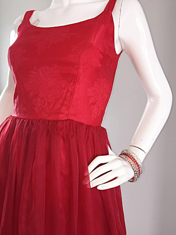 Gorgeous 1950s 50s Lipstick Red Demi Couture Silk Brocade Cocktail Dress 3