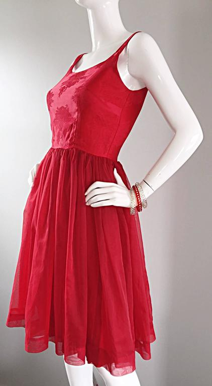 Gorgeous 1950s 50s Lipstick Red Demi Couture Silk Brocade Cocktail Dress 4