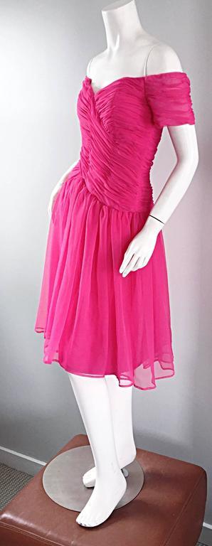 Victor Costa For Bergdorf Goodman Vintage Hot Pink Chiffon Off - Shoulder Dress 4