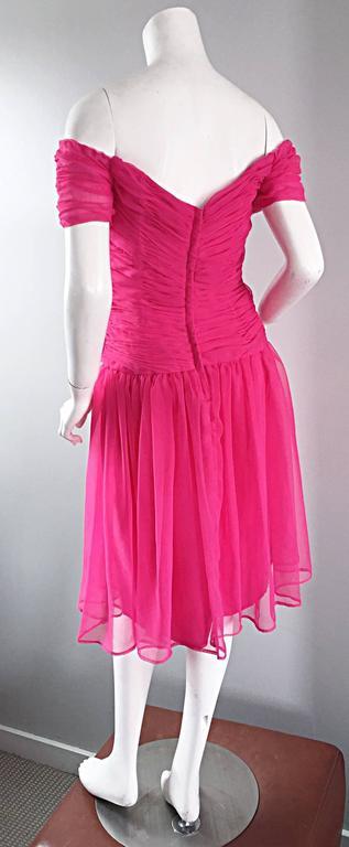 Victor Costa For Bergdorf Goodman Vintage Hot Pink Chiffon Off - Shoulder Dress 8