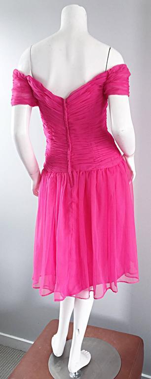 Victor Costa For Bergdorf Goodman Vintage Hot Pink Chiffon Off - Shoulder Dress 5
