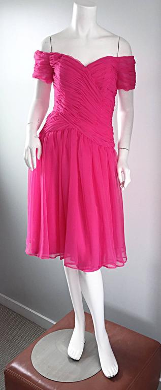 Victor Costa For Bergdorf Goodman Vintage Hot Pink Chiffon Off - Shoulder Dress 9