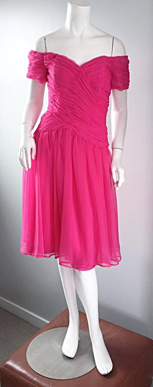 Victor Costa For Bergdorf Goodman Vintage Hot Pink Chiffon Off - Shoulder Dress 2