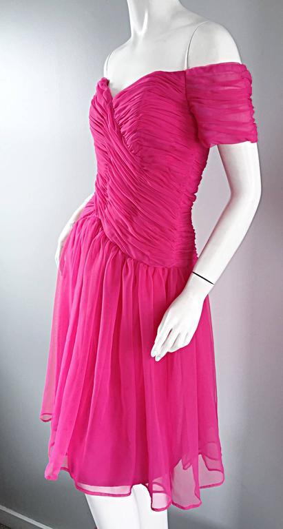 Victor Costa For Bergdorf Goodman Vintage Hot Pink Chiffon Off - Shoulder Dress 6