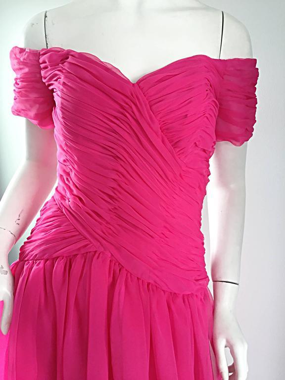 Victor Costa For Bergdorf Goodman Vintage Hot Pink Chiffon Off - Shoulder Dress 3