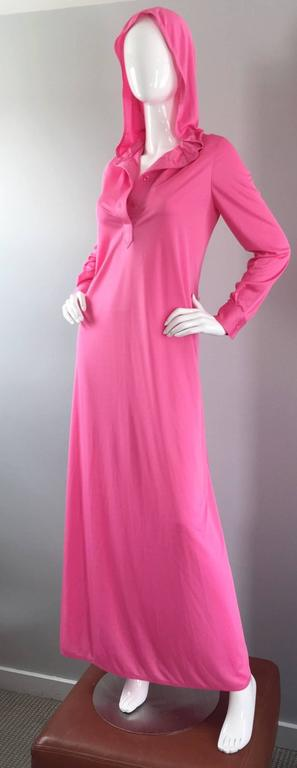 Geoffrey Beene Vintage Pink Hooded Caftan Long Sleeve Maxi Dress For Sale 1