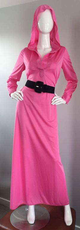 Geoffrey Beene Vintage Pink Hooded Caftan Long Sleeve Maxi Dress For Sale 3