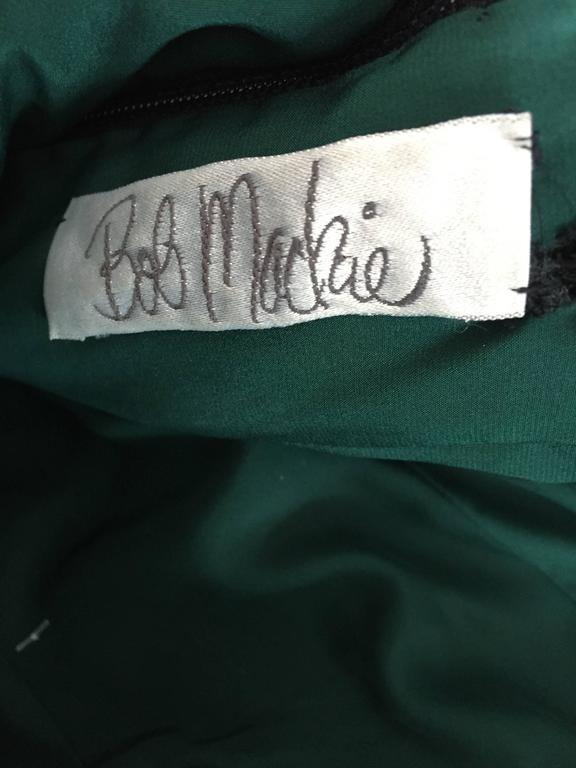 Extraordinary Bob Mackie Vintage Emerald Green Chiffon Leather Leaf Grecian Gown 10