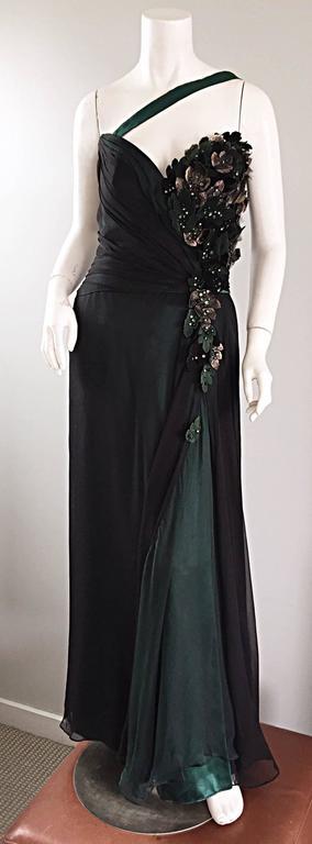 Extraordinary Bob Mackie Vintage Emerald Green Chiffon Leather Leaf Grecian Gown 9