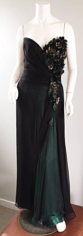 Bob Mackie Vintage Emerald Green Chiffon Leather Leaf Grecian Gown In Excellent Condition For Sale In San Francisco, CA