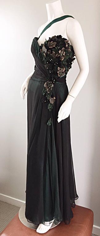 Extraordinary Bob Mackie Vintage Emerald Green Chiffon Leather Leaf Grecian Gown 7