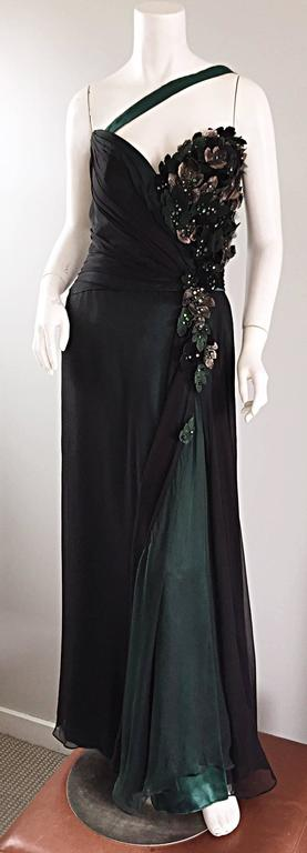 Women's Bob Mackie Vintage Emerald Green Chiffon Leather Leaf Grecian Gown For Sale