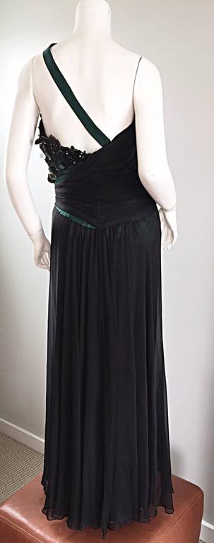 Extraordinary Bob Mackie Vintage Emerald Green Chiffon Leather Leaf Grecian Gown 5