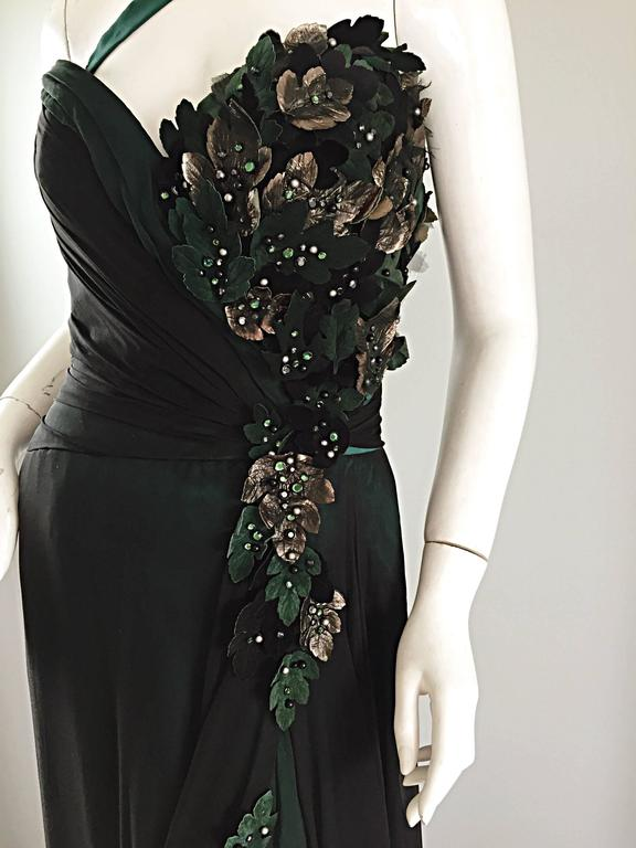 Quite possibly my favorite BOB MACKIE Couture dress EVER! I cannot even begin to describe this beauty! Beautiful emerald green silk with black silk chiffon overlay. Features a convertible strap that can be worn over one shoulder, or tucked in for a