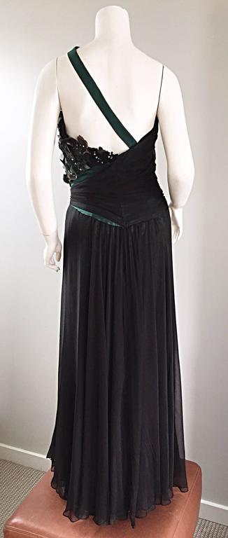 Extraordinary Bob Mackie Vintage Emerald Green Chiffon Leather Leaf Grecian Gown 8