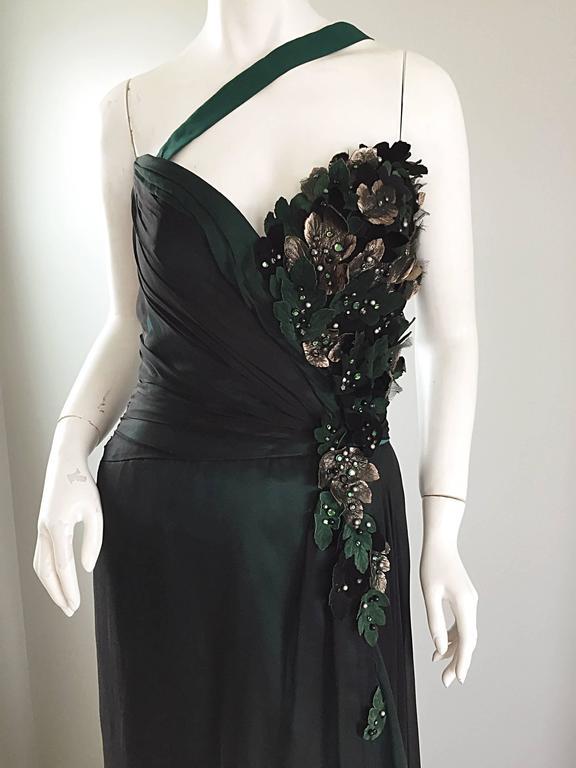 Extraordinary Bob Mackie Vintage Emerald Green Chiffon Leather Leaf Grecian Gown 6