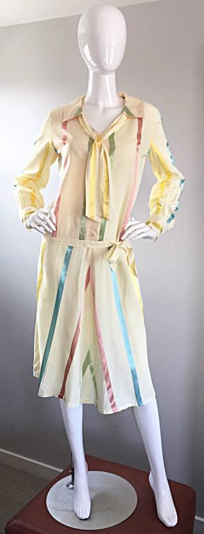 Chic 1920s Ivory ' Candy Stripe ' Silk Drop Waist Vintage 20s Day Dress 2