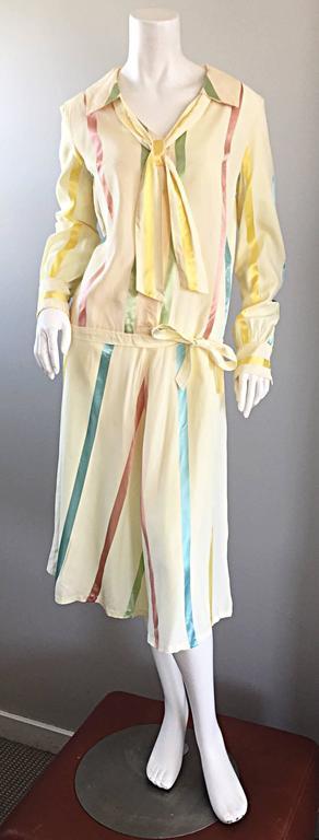 Chic 1920s Ivory ' Candy Stripe ' Silk Drop Waist Vintage 20s Day Dress 3
