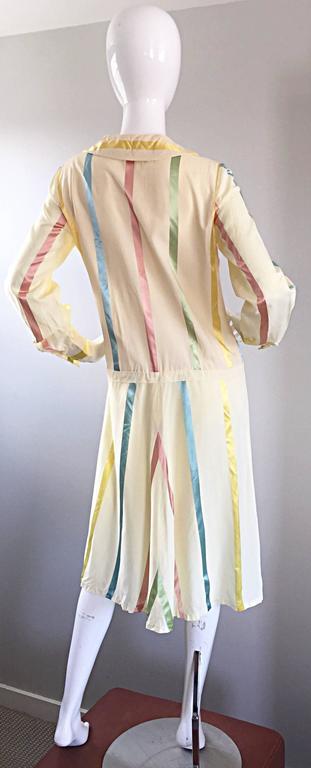 Chic 1920s Ivory ' Candy Stripe ' Silk Drop Waist Vintage 20s Day Dress 5