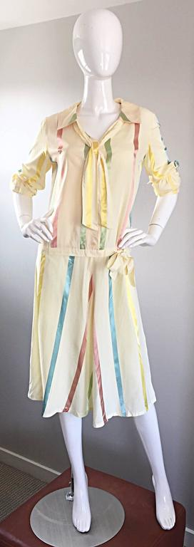 Chic 1920s Ivory ' Candy Stripe ' Silk Drop Waist Vintage 20s Day Dress 7