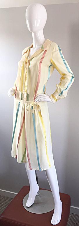 Chic 1920s Ivory ' Candy Stripe ' Silk Drop Waist Vintage 20s Day Dress 4