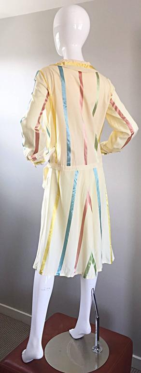 Chic 1920s Ivory ' Candy Stripe ' Silk Drop Waist Vintage 20s Day Dress 8