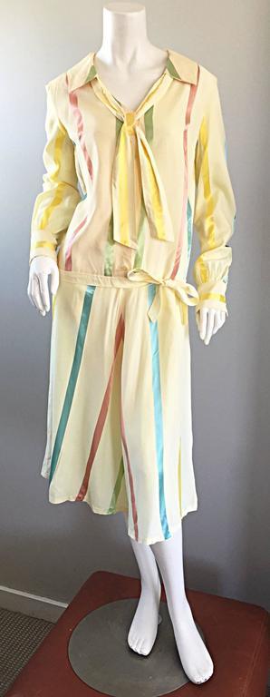 Chic 1920s Ivory ' Candy Stripe ' Silk Drop Waist Vintage 20s Day Dress 10