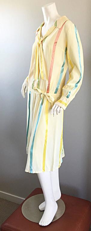 Chic 1920s Ivory ' Candy Stripe ' Silk Drop Waist Vintage 20s Day Dress 9