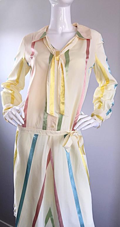 Chic 1920s Ivory ' Candy Stripe ' Silk Drop Waist Vintage 20s Day Dress 6
