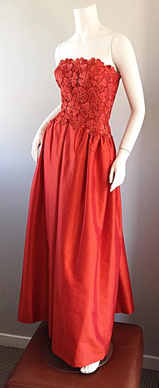 Werle of Beverly HIlls Couture Red Strapless Silk Shantung Crochet Gown, 1950s  4