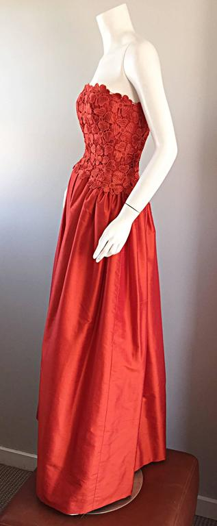 Werle of Beverly HIlls Couture Red Strapless Silk Shantung Crochet Gown, 1950s  5