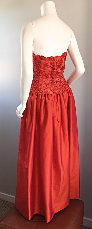 Werle of Beverly HIlls Couture Red Strapless Silk Shantung Crochet Gown, 1950s  6