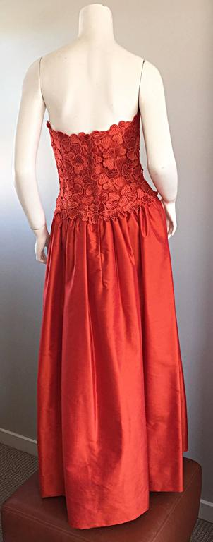 Werle of Beverly HIlls Couture Red Strapless Silk Shantung Crochet Gown, 1950s  7