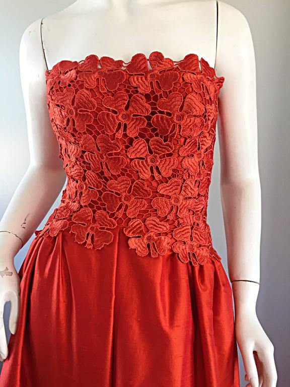 Werle of Beverly HIlls Couture Red Strapless Silk Shantung Crochet Gown, 1950s  3