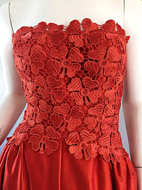 Werle of Beverly HIlls Couture Red Strapless Silk Shantung Crochet Gown, 1950s  8
