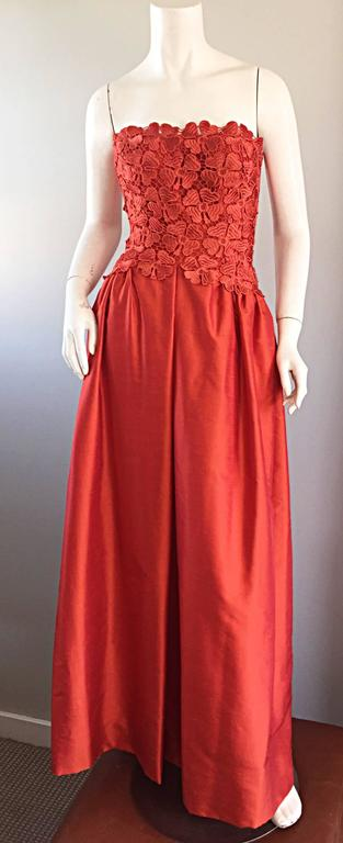 Werle of Beverly HIlls Couture Red Strapless Silk Shantung Crochet Gown, 1950s  9
