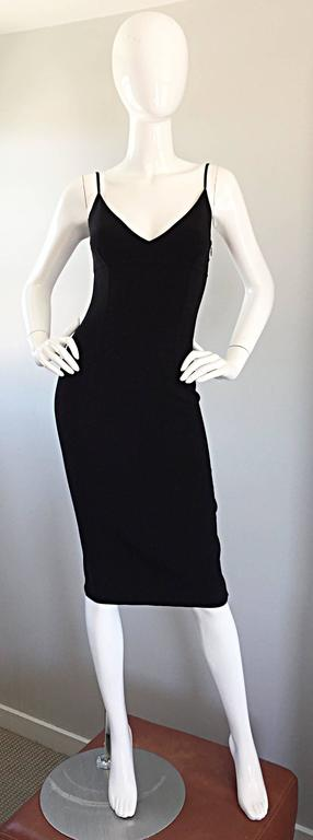 Michael Kors Collection 1990s 90s Size 0 Double Faced Wool Little Black Dress  For Sale 4