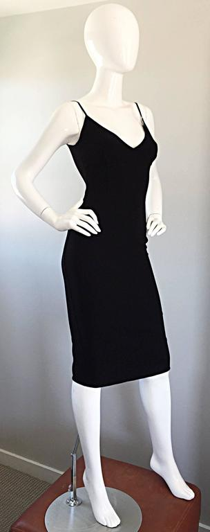 Michael Kors Collection 1990s 90s Size 0 Double Faced Wool Little Black Dress  In Excellent Condition For Sale In San Francisco, CA