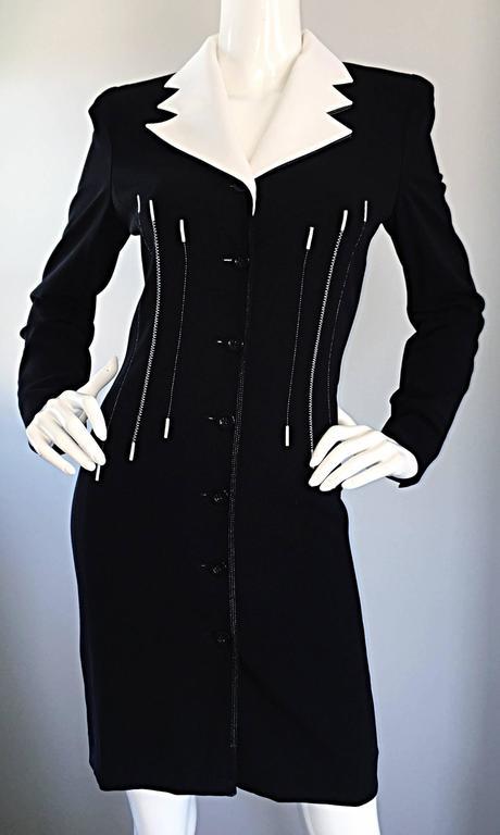 17e5e6132992b Vintage Escada Margaretha Ley Black and White   Piano   Dress Removable  Collar For Sale 4