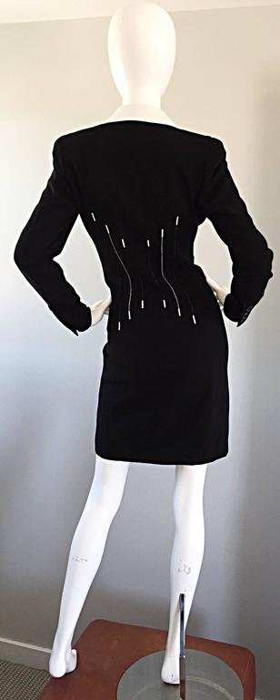 f0bf49629c25d Vintage Escada Margaretha Ley Black and White   Piano   Dress Removable  Collar For Sale 2