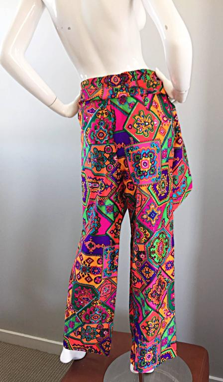 Amazing 1970s Alex Coleman Colorful Gegometric 70s Paisley