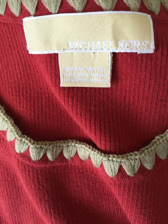 Michael Kors Collection Brick Red + Tan 1990s 90s Ribbed Crop Top 10