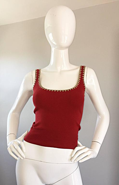 Michael Kors Collection Brick Red + Tan 1990s 90s Ribbed Crop Top 9