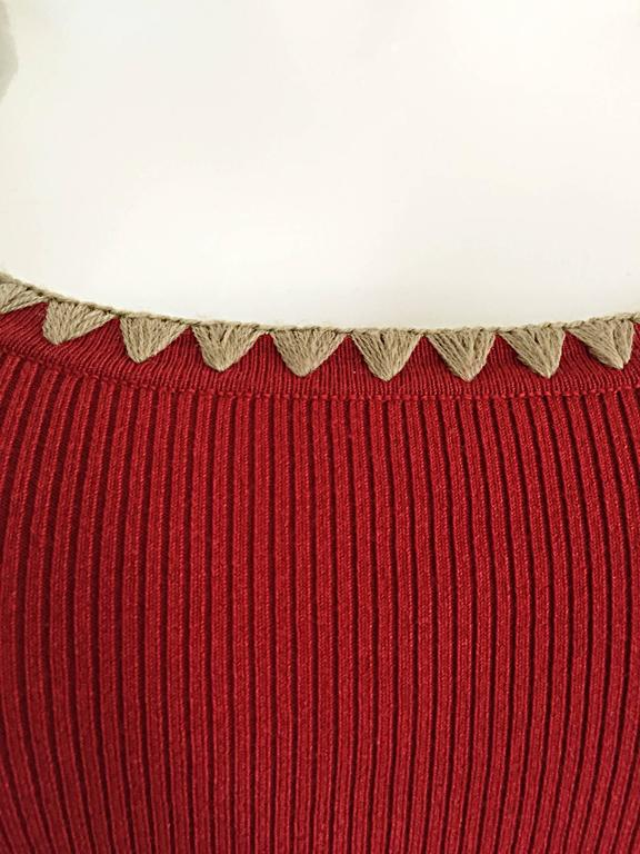 Michael Kors Collection Brick Red + Tan 1990s 90s Ribbed Crop Top 8