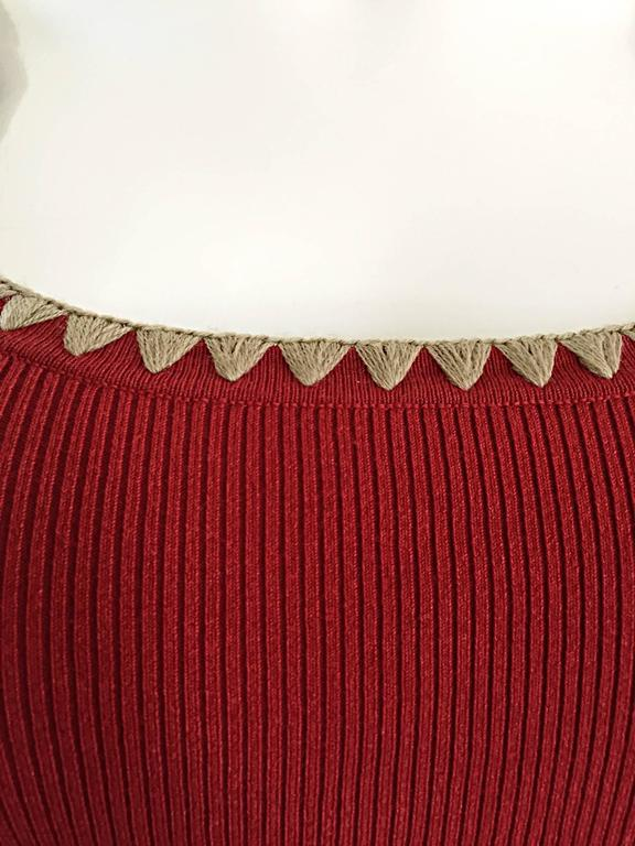 Michael Kors Collection Brick Red + Tan 1990s 90s Ribbed Crop Top 4