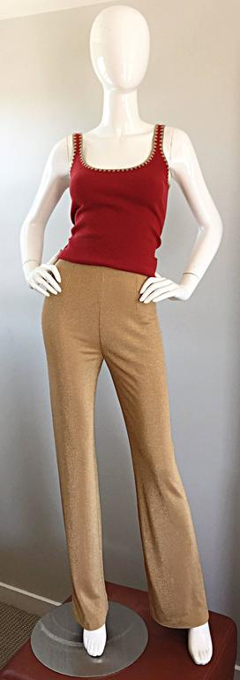 Michael Kors Collection Brick Red + Tan 1990s 90s Ribbed Crop Top 6