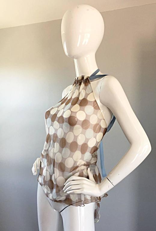 Vintage Alberta Ferretti Semi Sheer Polka Dot Sexy Silk