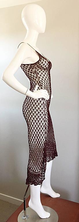 1970s Vintage Brown Hand Crochet Chocolate Silk Rayon 70s Boho Semi Sheer Dress 6