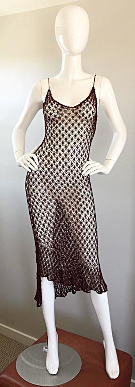 1970s Vintage Brown Hand Crochet Chocolate Silk Rayon 70s Boho Semi Sheer Dress 2