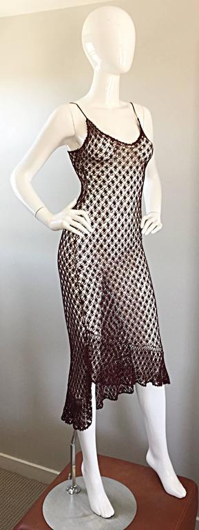 1970s Vintage Brown Hand Crochet Chocolate Silk Rayon 70s Boho Semi Sheer Dress 3